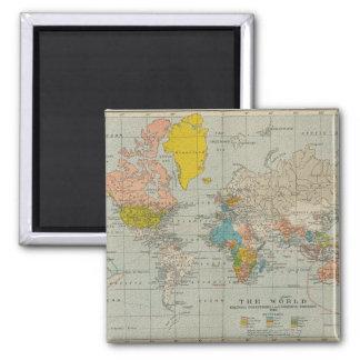 De vintage Kaart 1910 van de Wereld Koelkast Magneetje