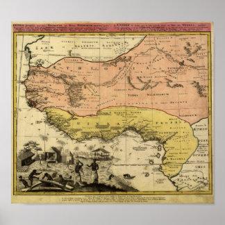 De vintage Kaart van 1743 West-Afrika Poster