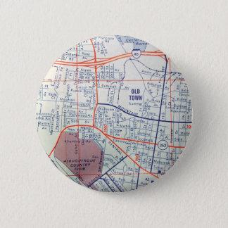 De Vintage Kaart van ALBUQUERQUE Ronde Button 5,7 Cm