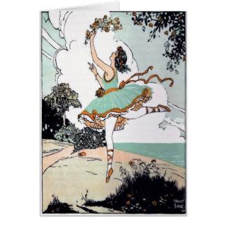 De vintage Kaart van de Balletdanser