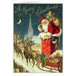 De vintage Kaart van de Kerstman van Kerstmis