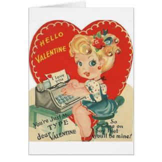 De vintage Kaart van de Valentijnsdag van de
