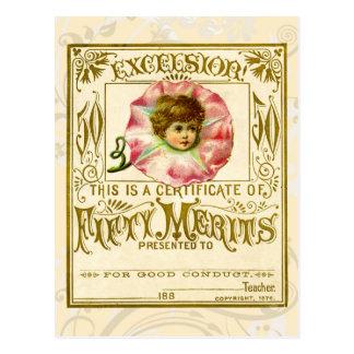 De vintage Kaart van de Verdienste voor Goed