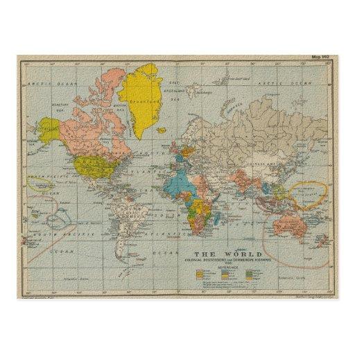 De vintage Kaart van de Wereld 1910 V2 Wens Kaart