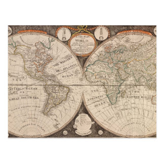 De vintage Kaart van de Wereld Briefkaart