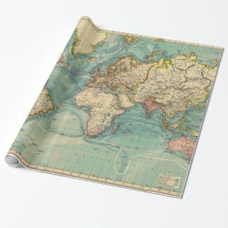 Kaart van de wereld cadeaupapier kaart van de wereld inpakpapier designs - Vintage bank thuis van de wereld ...