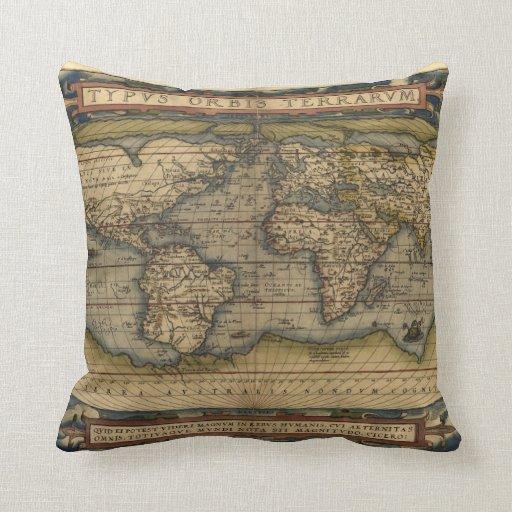 De vintage kaart van de wereld decoratie kussens zazzle - Thuis kussens van de wereld ...
