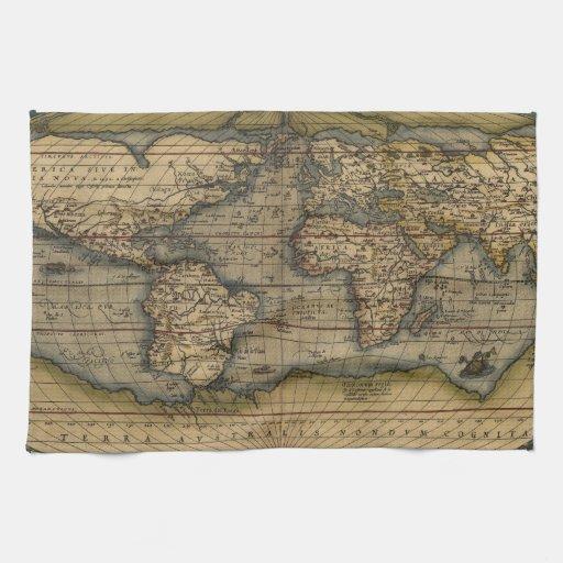 De vintage kaart van de wereld handdoek zazzle - Vintage bank thuis van de wereld ...