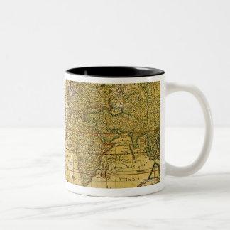De vintage Kaart van de Wereld Koffie Mokken