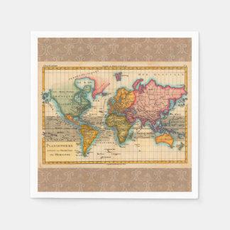 Oude wereldkaart servetten - Vintage bank thuis van de wereld ...