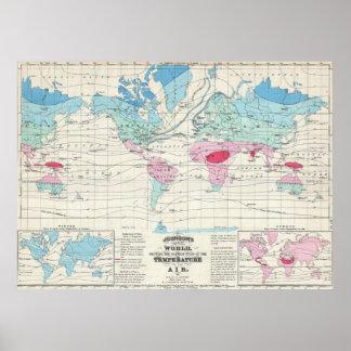De vintage Kaart van het Klimaat van de Wereld Poster