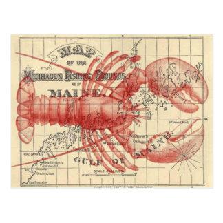 De vintage Kaart van Maine met het Briefkaart van