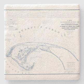 De vintage Kaart van Provincetown Cape Cod Stenen Onderzetter