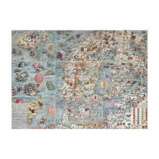 De vintage Kaart van Scandinavië van de Jachthaven Canvas Print