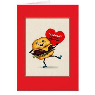 De vintage Kaart van Valentijn van de Cheeseburger