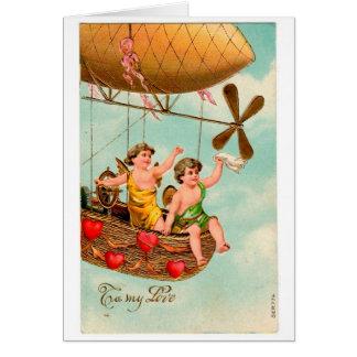 De vintage Kaart van Valentijn van het Luchtschip