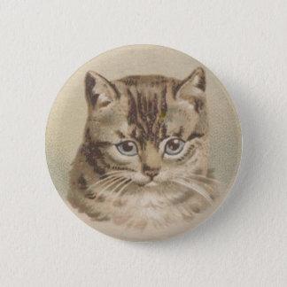 De vintage Kat van de Gestreepte kat Ronde Button 5,7 Cm