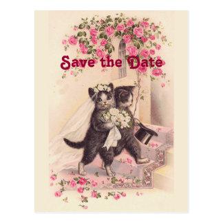 De vintage Katten van het Huwelijk bewaren het Briefkaart