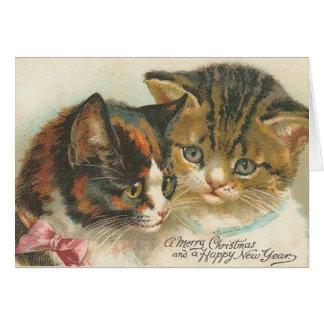 De vintage Katten van Kerstmis en van het Kaart