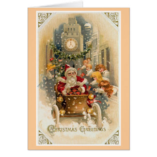 De Vintage Kerstkaart van de Aandrijving van de Briefkaarten 0