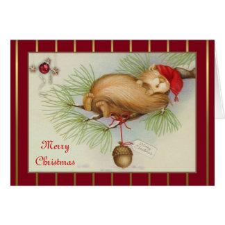De vintage Kerstkaart van de Eekhoorn, van de Briefkaarten 0