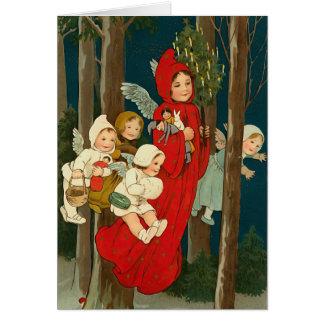 De Vintage Kerstkaart van de Engelen van Kerstmis Briefkaarten 0