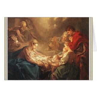 De vintage Kerstkaart van de Geboorte van Christus Wenskaart