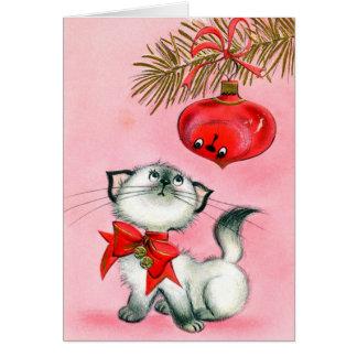 De vintage Kerstkaart van de Kat en van het Kaart