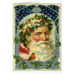 De vintage Kerstkaart van de Kerstman