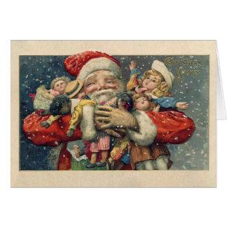 De vintage Kerstkaart van de Kerstman Kaart