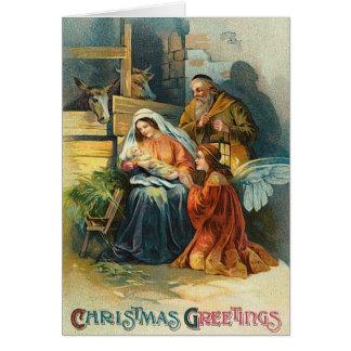 De vintage Kerstkaart van de Scène van de Trog Wenskaart