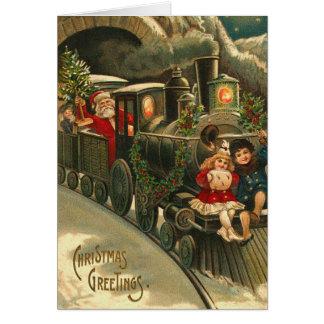 De vintage Kerstkaart van de Trein van de Kerstman Wenskaart