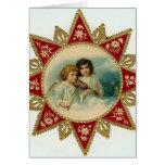De vintage Kerstkaart van engelen Kaart