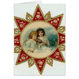 De vintage Kerstkaart van engelen Wenskaart
