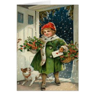 De vintage Kerstkaart van het Kind Wenskaart