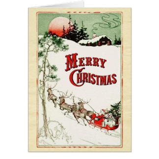 De vintage Kerstman, de Ar en het Rendier van de Kaart