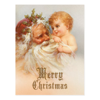 De vintage Kerstman met Glimlachend Kind Briefkaart