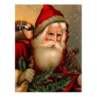 De vintage Kerstman met Wandelstok Briefkaart