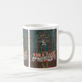 De vintage Kinderen die van Kerstmis Koor in Kerk Koffiemok