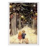De vintage Kinderen van de Kerstkaart op weg met p Kaart