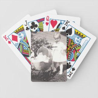 De vintage Kinderwagen van het Meisje w van de Poker Kaarten