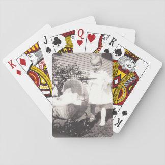 De vintage Kinderwagen van het Meisje w van de Pokerkaarten