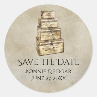 De vintage Koffers bewaren de Sticker van de Datum