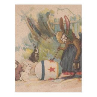 De vintage Konijnen van Pasen Briefkaart