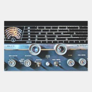 De vintage Korte RadioOntvanger van de Golf Rechthoekige Sticker