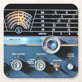 De vintage Korte RadioOntvanger van de Golf Vierkante Onderzetter