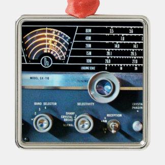 De vintage Korte RadioOntvanger van de Golf Zilverkleurig Vierkant Ornament