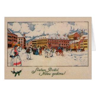 De vintage Kroatische Kerstkaart van Sretan Božić Briefkaarten 0
