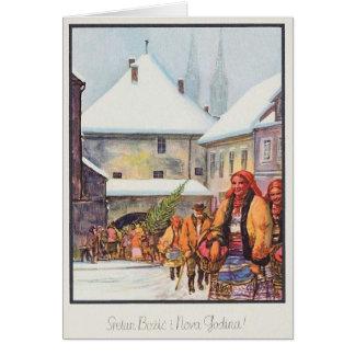 De vintage Kroatische Kerstkaart van Sretan Božić Kaart