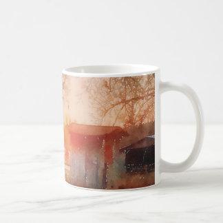 De vintage Landelijke Scène van de Waterverf van Koffiemok